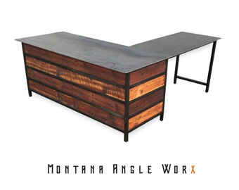 industrial office desk urban rustic industrial office desk with reclaimed montana barn wood executive desk refined industrial chic desk etsy
