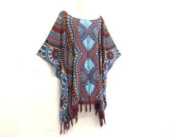 9cddb8452 Bohemian Tribal style Batik Top Tunic Blouse Kaftan Kimono poncho summer  casual Caftan hippy Women Blouse plus size Top L XL 1X 2X 3X 4X 5X