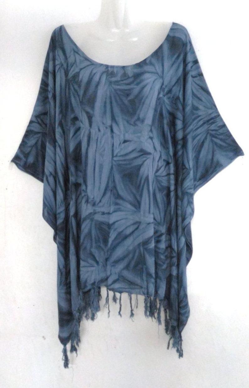 Grey Tie-dye Boho Blouse Tunic Top women batik poncho summer beachwear casual wear kaftan caftan plus size  L XL 1X 2X 3X 4X 5X