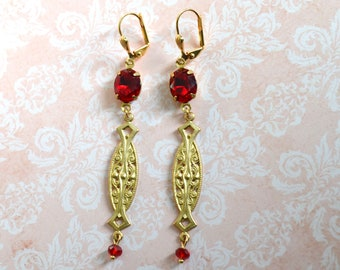Earrings art deco red and gold