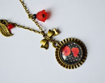 Poppy red, black and bronze necklace