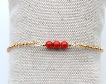 Gold plated bracelet chain minimalist, and sea bamboo beads
