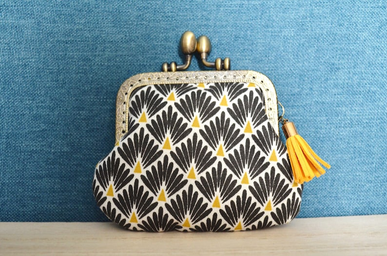 Black white and yellow art deco patterned wallet