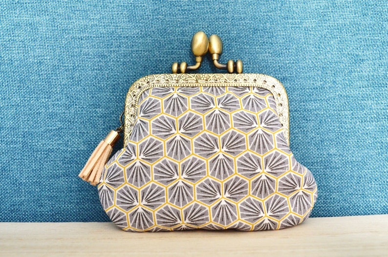 Beige and green butterfly-printed purse