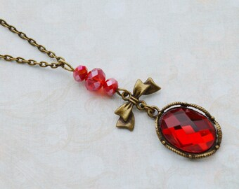 Red cabochon necklace retro faceted glass