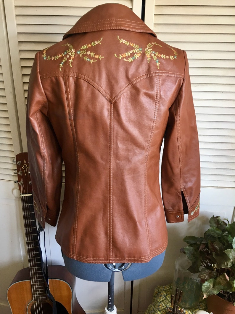 73864cefd4ae Vintage Embroidered Motorcycle Jacket Brown Leather Unisex