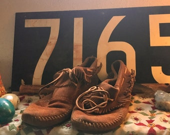 1970s Minnetonka Vintage Leather Moccasin Boots with Fringe and Southwestern Accents and Rubber Sole Ladies Leather Booties Womens Size 7.5