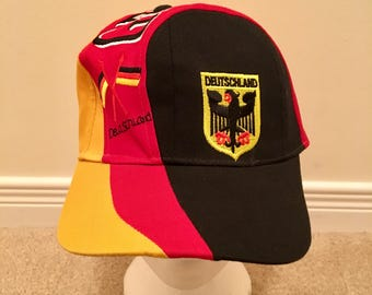 aed64ca7a60 Vintage Germany Snapback Hat Rare Red Yellow Black