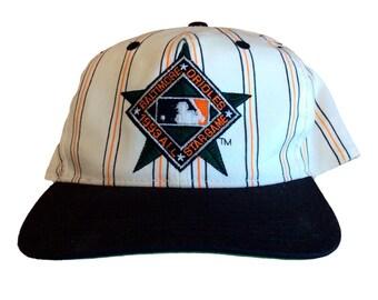Vintage Baltimore Orioles Snapback Hat by Starter Rare MLB 90s White  Pinstripe ffb489562e2c