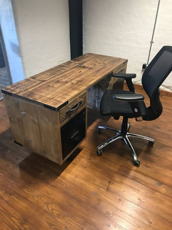 the latest 113a4 b106d Vintage industrial reclaimed office desk with filing drawers, industrial  pedestal desk with drawers, rustic industrial office furniture