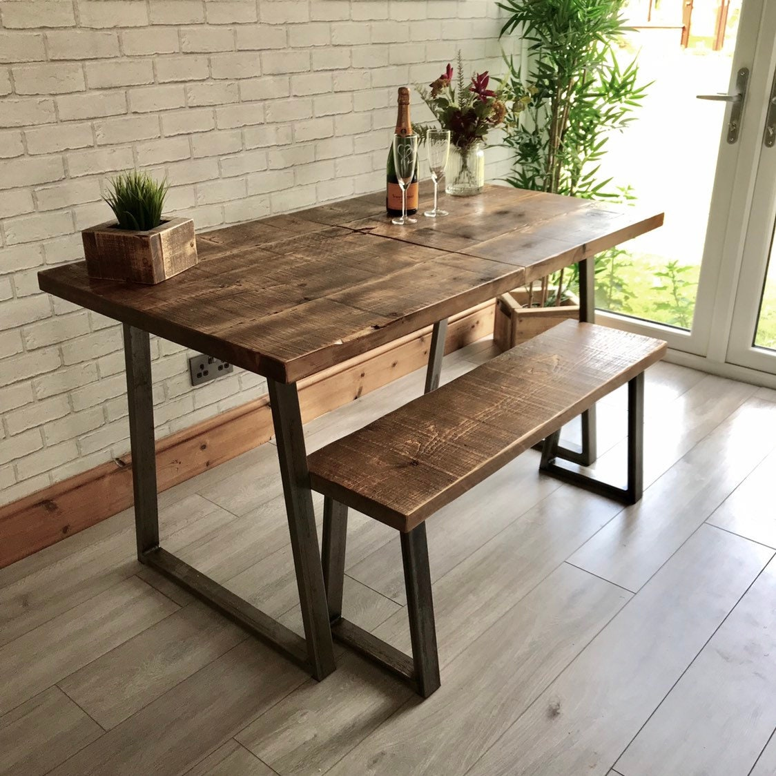 Sensational Extending Industrial Dining Table And Bench Package With Home Interior And Landscaping Eliaenasavecom