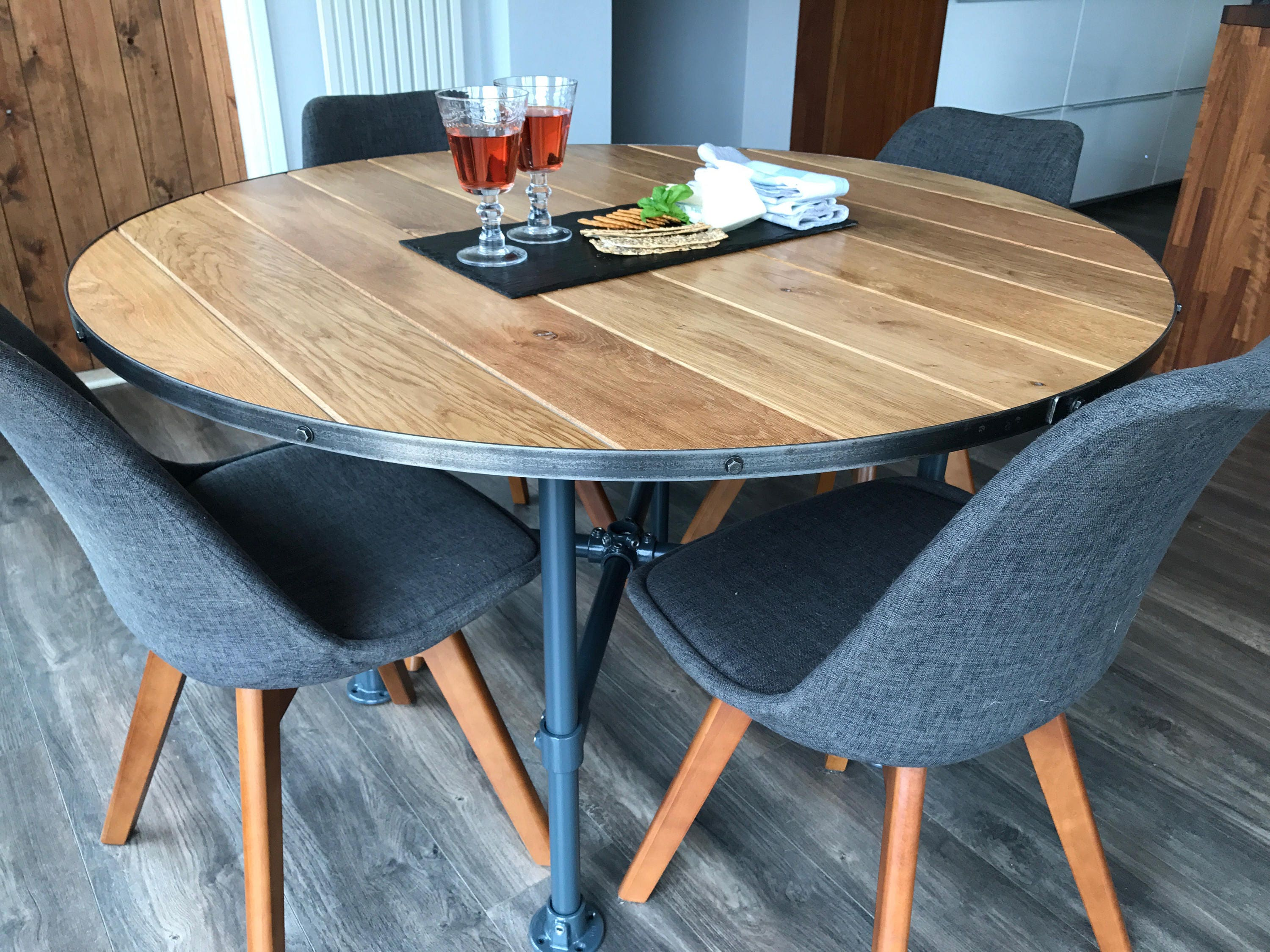 by one dining skilled round to baltic oak double lithuania pin table premium in with extending solid craftsmen europe made
