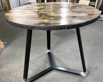 Round industrial dining table, dining table with steel criss cross base, cafe bar table, industrial chic reclaimed table