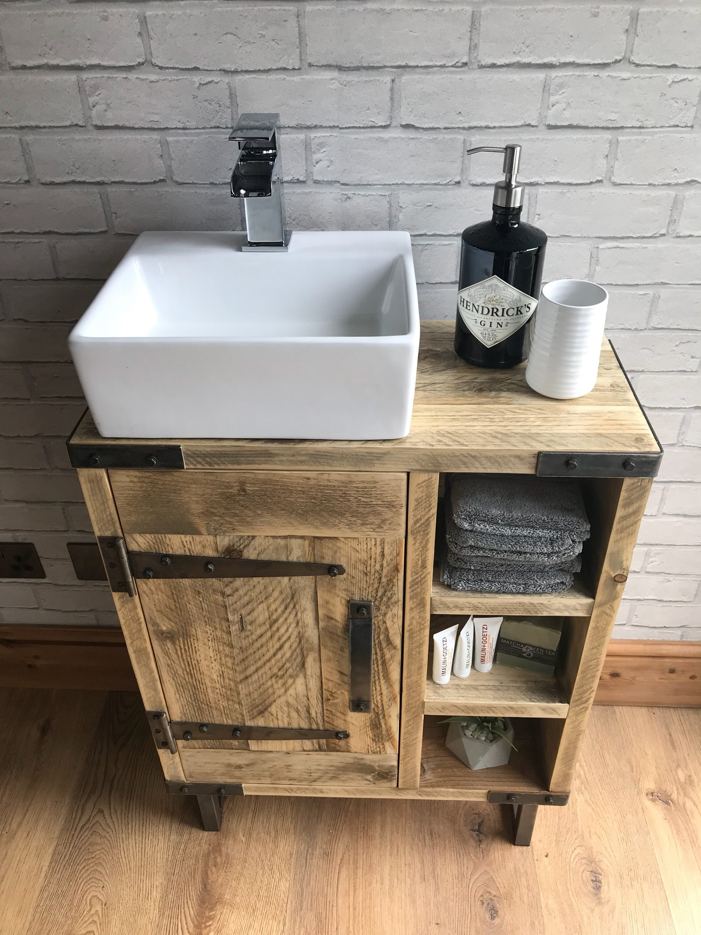 Reclaimed Rustic Industrial Vanity Unit With Sink Etsy