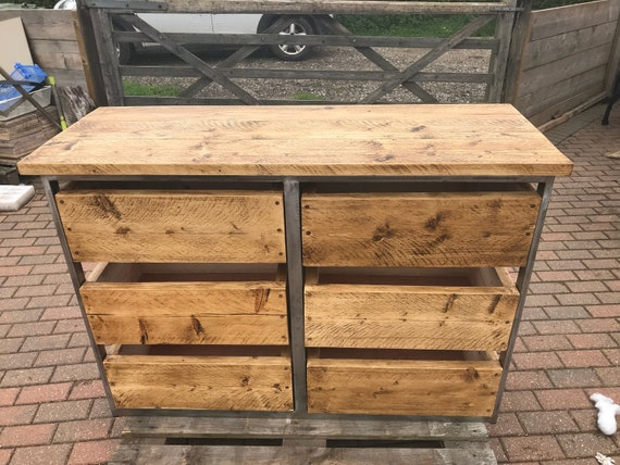 Industrial chic chest of drawers, industrial kitchen island drawer unit,  rustic drawer unit