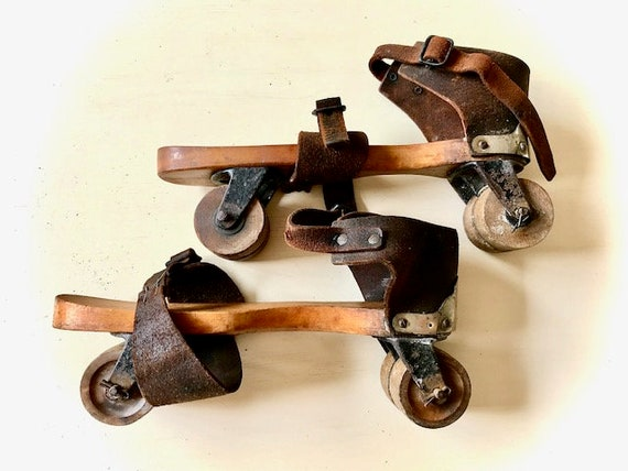 Antique Leather Roller Skates with Wood Wheels