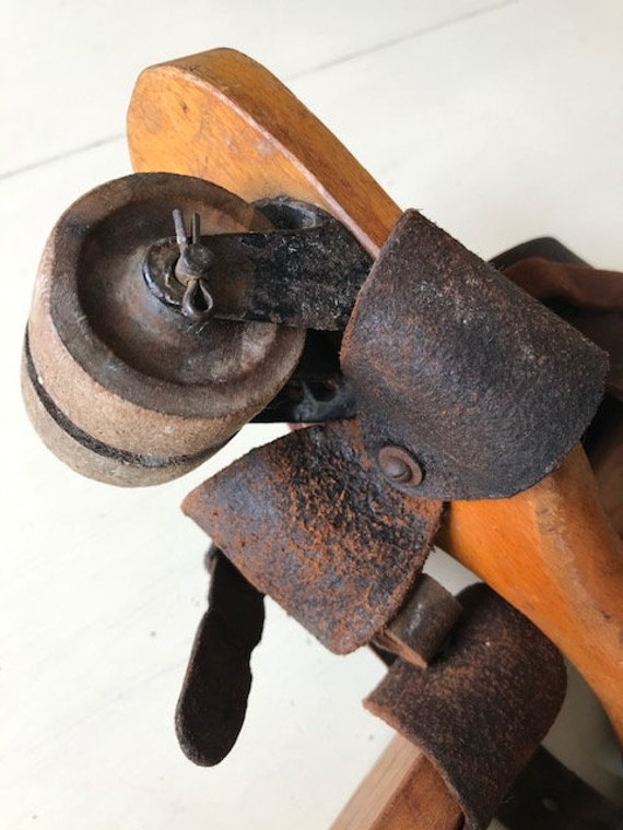Antique Leather Roller Skates with Wood Wheels - image 8