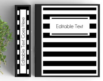 free editable printable binder covers and spines black and white