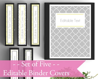 Set of 6- EDITABLE Binder Covers- Gray and Yellow- Personalized Binder Inserts and Spines (8.5x11in)- Printable Binder Covers- Editable