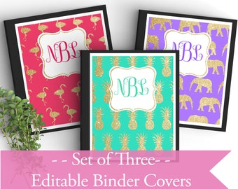 Set of 3 Monogram EDITABLE Binder Covers-Gold Glitter- Personalized Binder Inserts and Spines (8.5x11in)- Printable Binder Covers- Editable