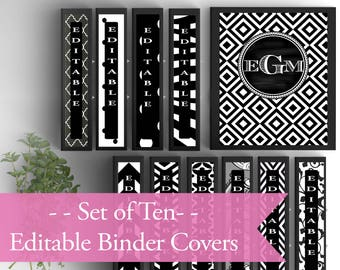 Set of 10-Monogram Binder Covers- Black and White- Personalized Binder Inserts and Spines (8.5x11in)- Printable Binder Covers-Editable