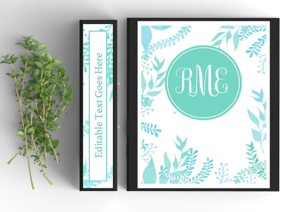 graphic about Printable Monogram Binder Cover identified as Monogram Binder Protect-Tailored Binder Inserts and Spines (8.5x11inside of)- Printable Binder Addresses-Editable
