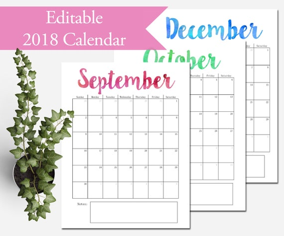 2018 Calendar Printable Editable Monthly Pages Letter Size Etsy