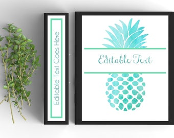 Pineapple Binder Cover-Personalized Binder Inserts and Spines (8.5x11in)- Printable Binder Covers-Editable