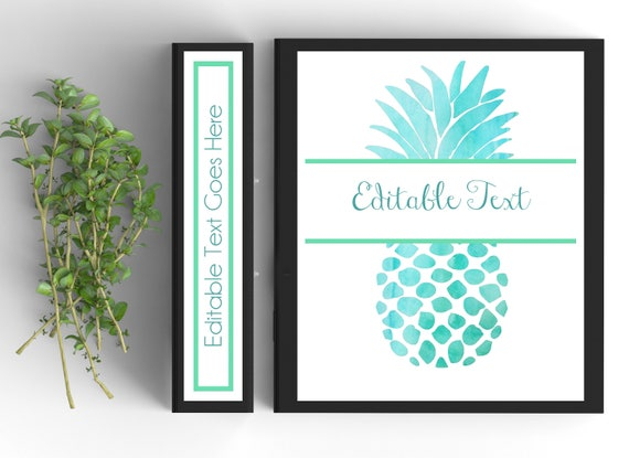 picture about Free Editable Printable Binder Covers and Spines identified as Pineapple Binder Address-Custom made Binder Inserts and Spines (8.5x11within just)- Printable Binder Handles-Editable