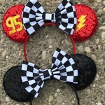 Cars Lightening McQueen Inspired Mickey Mouse Ears, Carsland Lightening McQueen Minnie Mouse Ears Headband, Carsland Mouse Ears