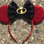 Incredibles Inspired Mickey Minnie Mouse Ears, Jack Jack Mickey Mouse Ears, Halloween Mickey Minnie Mouse Ears, Elastigirl Minnie Ears