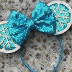 Elsa Snowflake Inspired Mouse Ears, Elsa Frozen Mickey Ears, Olaf Mouse Ears, Frozen Mickey Ears, Christmas Disney Mouse Ears