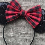 Buffalo Plaid Mickey Ears, Buffalo Plaid Christmas Mouse Ears, Disney Christmas Minnie Ears, Christmas Mouse Ears, Buffalo Plaid Disney Ears