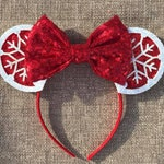 Snowflake Mickey Mouse Ears, Christmas Mouse Ears, Disney Christmas Mouse Ears, Mickey Christmas Mouse Ears, Disney Holiday Winter Ears