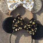Leopard Ears, Animal Kingdom Mouse Ears, Animal Kingdom Mickey Ears, Leopard Mickey Ears, Leopard Minnie Ears, Black Gold Mouse Leopard Ears
