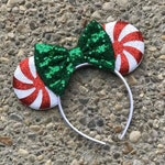 Peppermint Candy Mickey Minnie Mouse Ears, Minnie Ears, Disney Ears, Christmas Disney Mickey Mouse Ears, Disney Christmas Ears, Mickey Ears