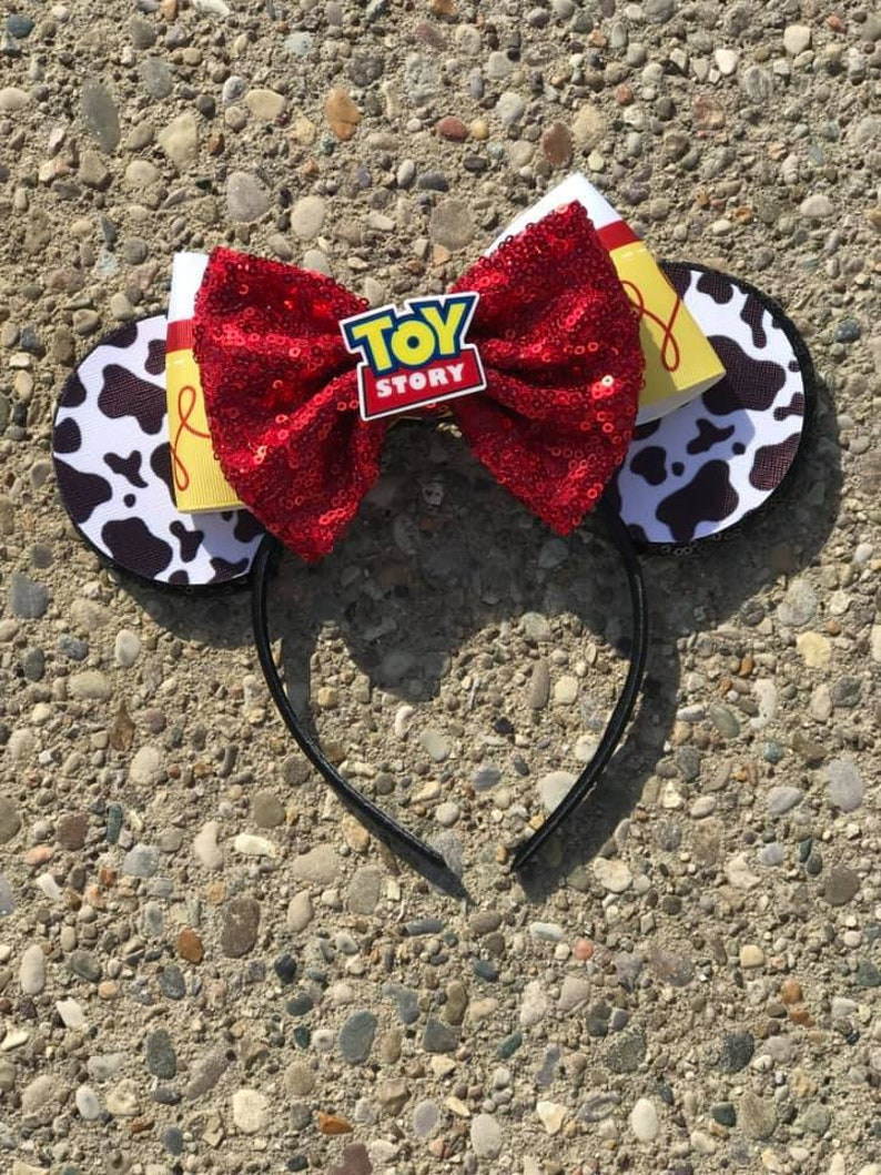 "Cowgirl Jessie Inspired Mickey Ears Toy Story Inspired Mickey 4"" Ears w sequin bow"