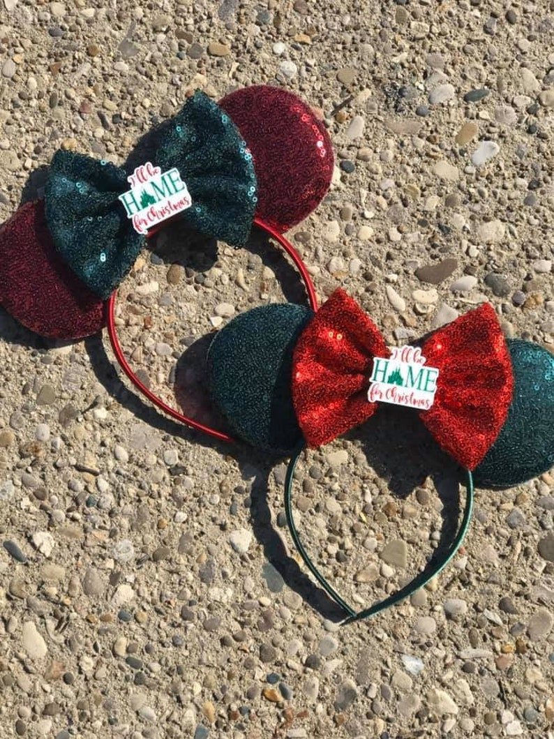 Home for Christmas Party Mickey Minnie Mouse Ears Christmas image 0