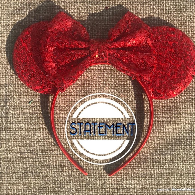 Solid Red Sequin Mickey Ears  Mouse Ears Mickey Ears Mouse image 0