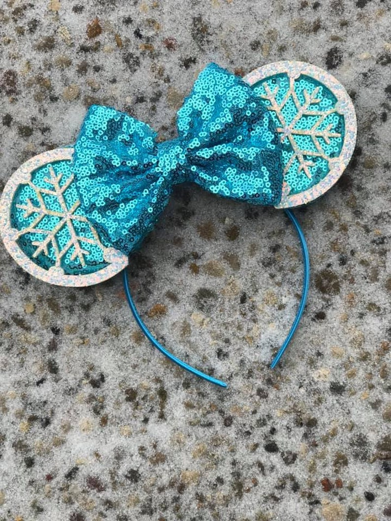 Elsa Snowflake Inspired Mouse Ears Elsa Frozen Mickey Ears image 0