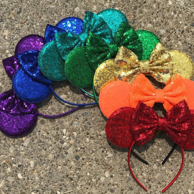 Solid Sequin Mickey Ears  Solid Red Orange Yellow Gold Green image 0