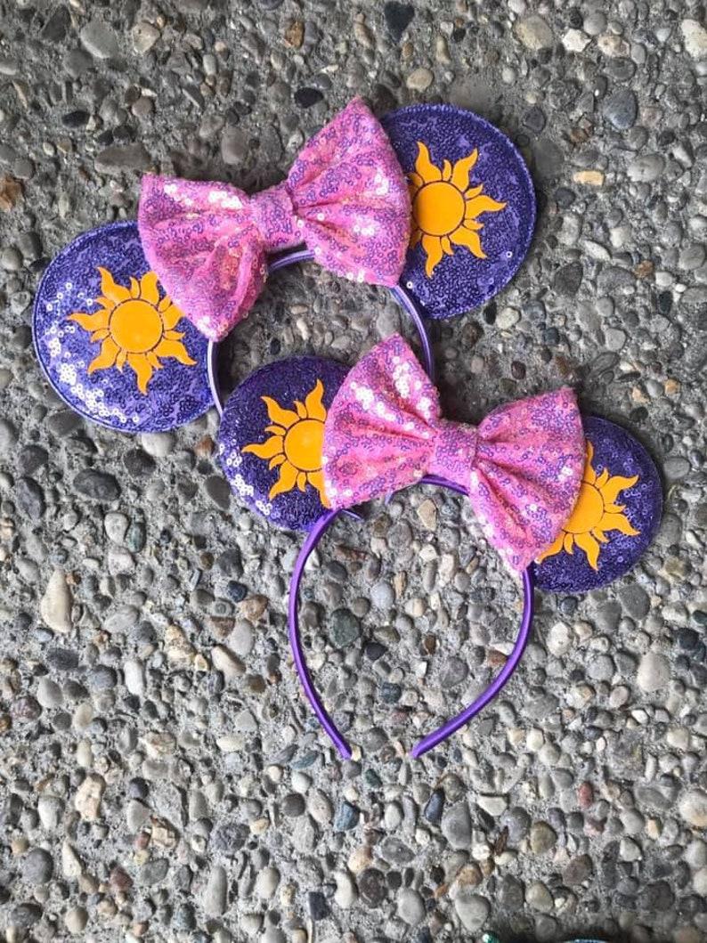 Tangled Rapunzel Inspired Mickey Ears Sunshine Mickey Ears Sparkle Pink