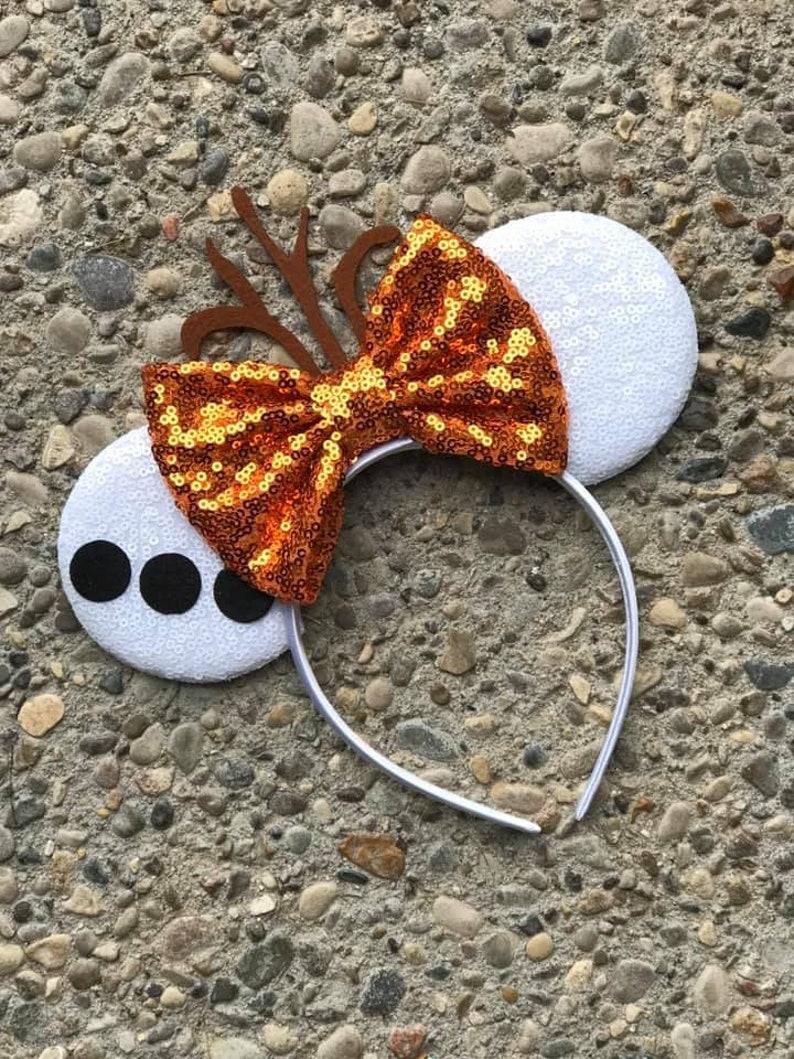 Olaf Inspired Mickey Ears Snowman Mickey Ears Snowman Minnie image 0