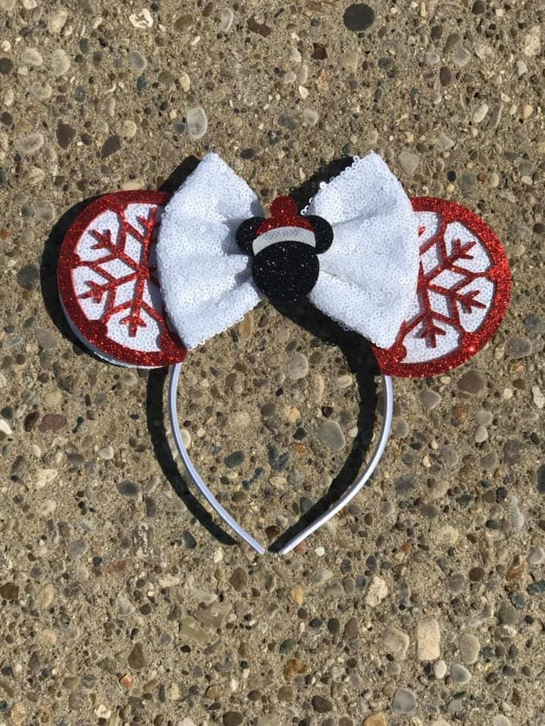 Christmas Mickey Minnie Mouse Ears Snowflake Mickey Ears image 0