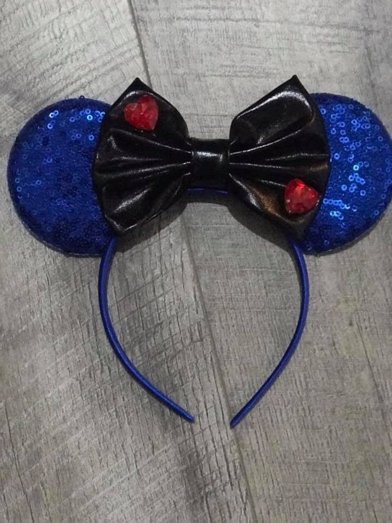 Evie Inspired Mickey Minnie Ears Descendants Inspired Mouse Hearts Everywhere