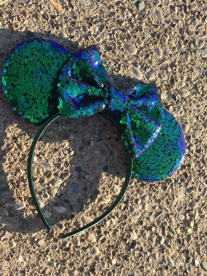 Peacock Two Tone  Mickey Minnie Mouse Ears Solid Iridescent image 0