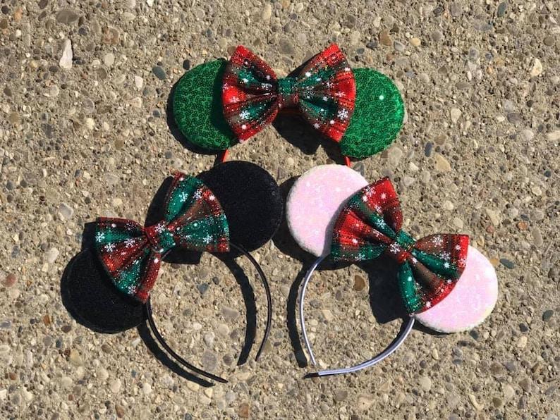 Plaid Christmas Holiday Mickey Minnie Mouse Ears Snowflake image 0