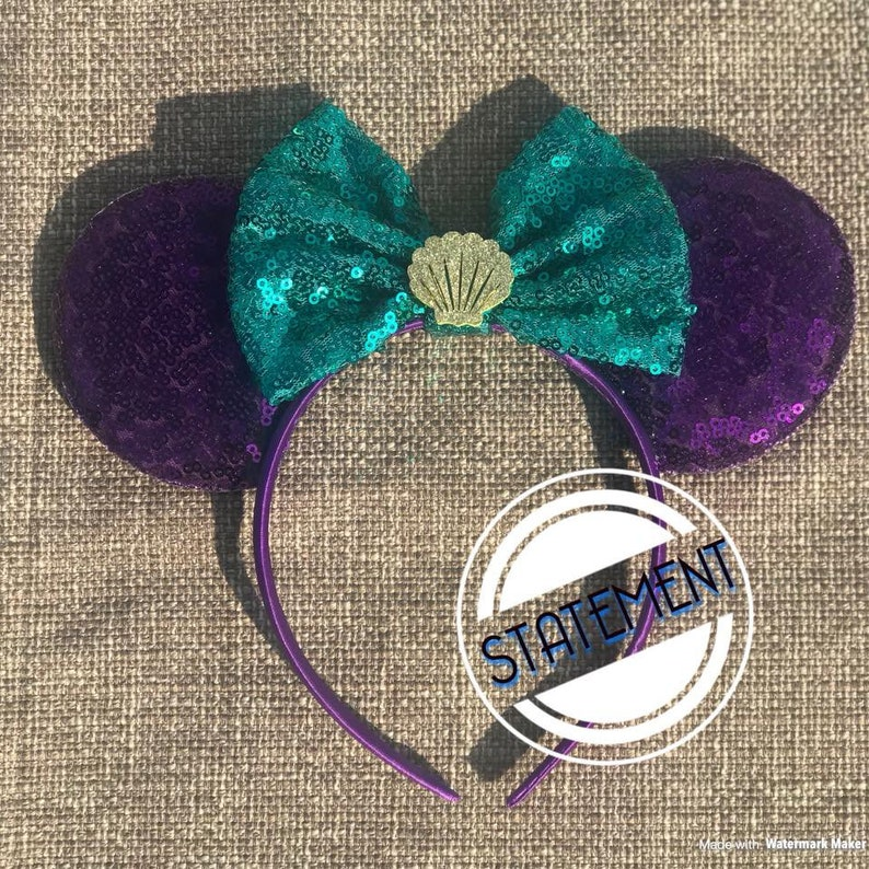 Little Mermaid Ariel Inspired Full Sequin Mouse Mickey Ears image 0