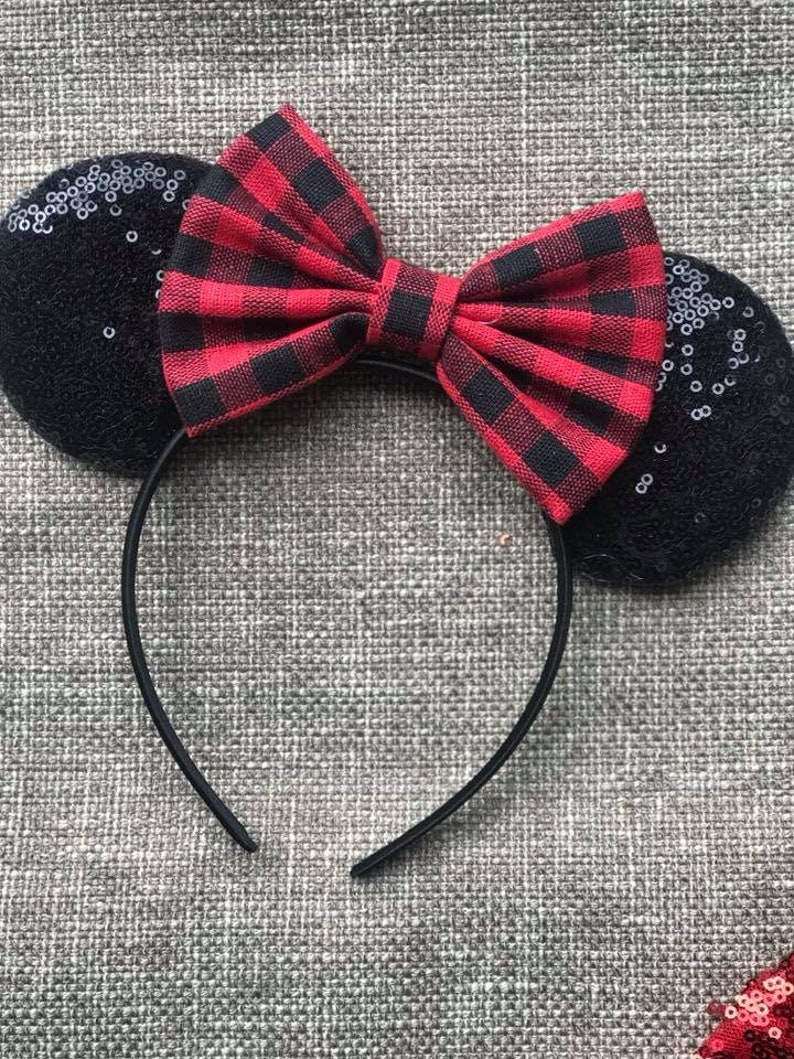 Buffalo Plaid Mickey Ears Buffalo Plaid Christmas Mouse Ears image 0