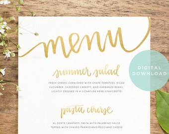 gold wedding menu download // custom designed handwritten printable // wedding reception decor // gold wedding menu digital design